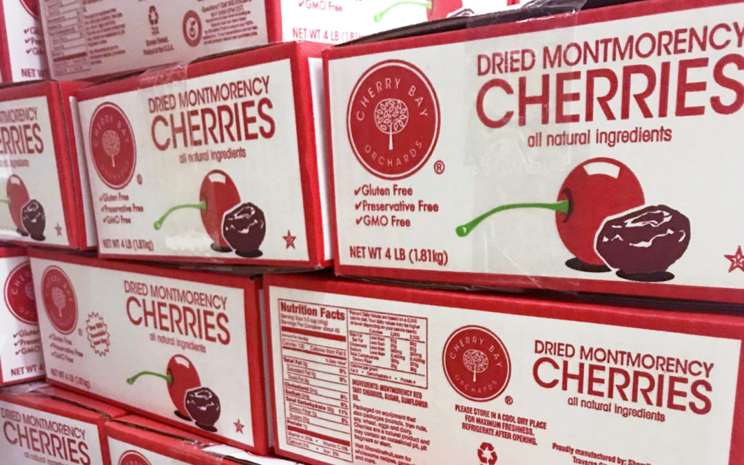EFulfillment Service stacked Cherry Bay Cherries packages in the efulfillment warehouse.