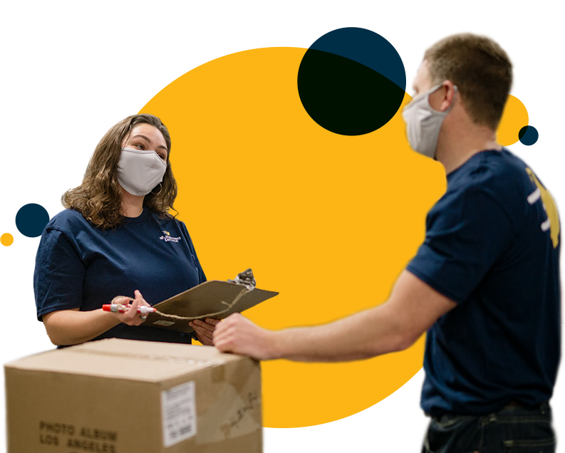 eFulfillment warehouse employees having a discussion