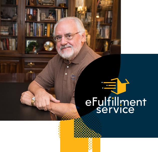 eFulfillment logo and photo of company President John Lindberg in a wood room with bookshelf backdrop
