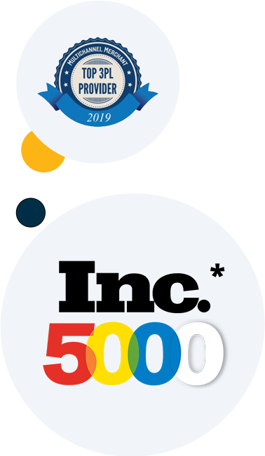 Vertically arranged bubbles with two awards logos placed in individual, large bubbles