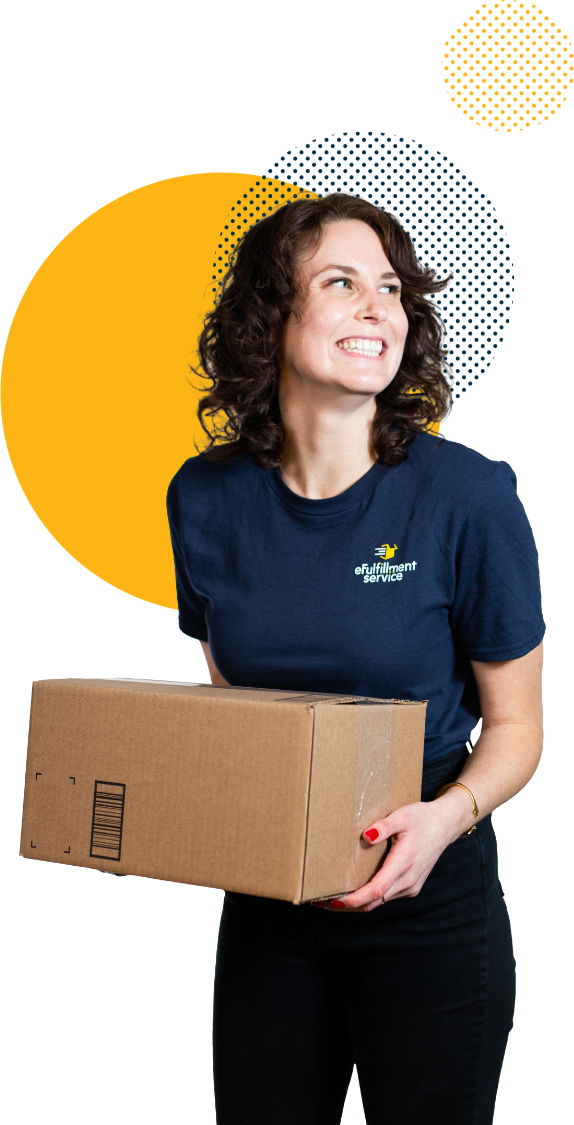 eFulfillment Service Employee Smiling With Box and 3 Dots