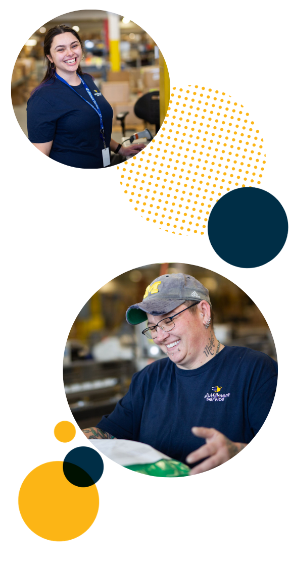Efulfillment Service Employees Double Photo Smiling With Dots