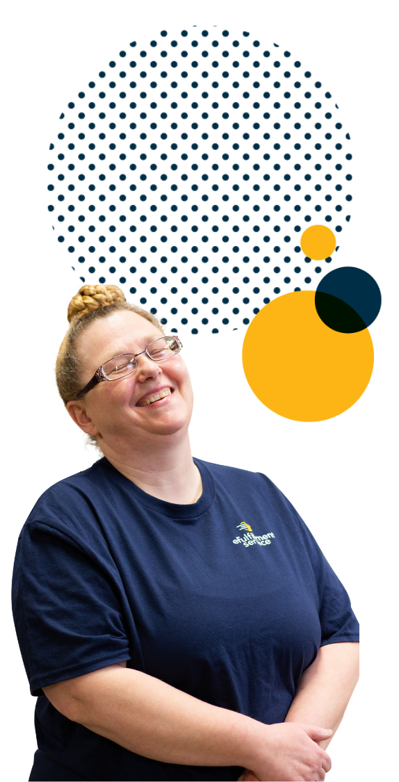 eFulfillment Service Employee Smiling With Eyes Closed And Large Dots