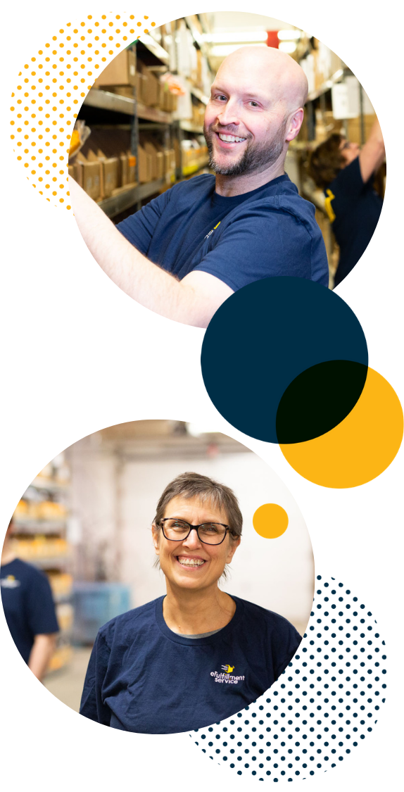 Efulfillment Service Male And Female Employees Double Photo With Dots