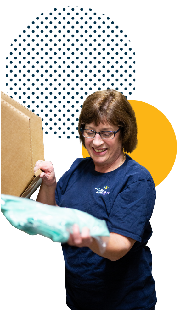 eFulfillment Service employee with Bin Product and Dots
