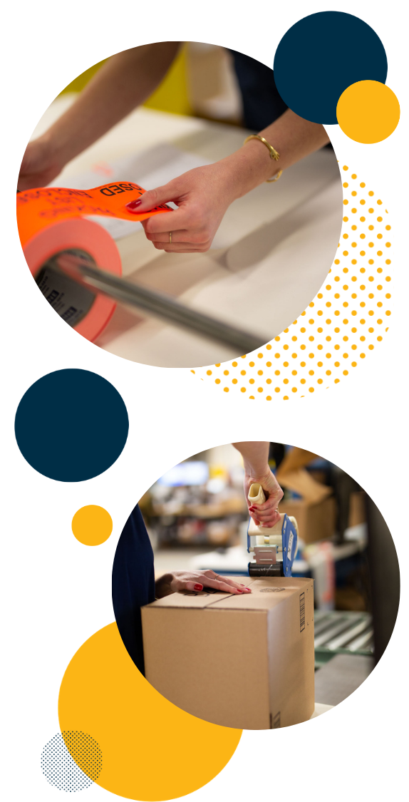 Efulfillment Service Shipping Employees Double Photo Tagging and Taping With Dots