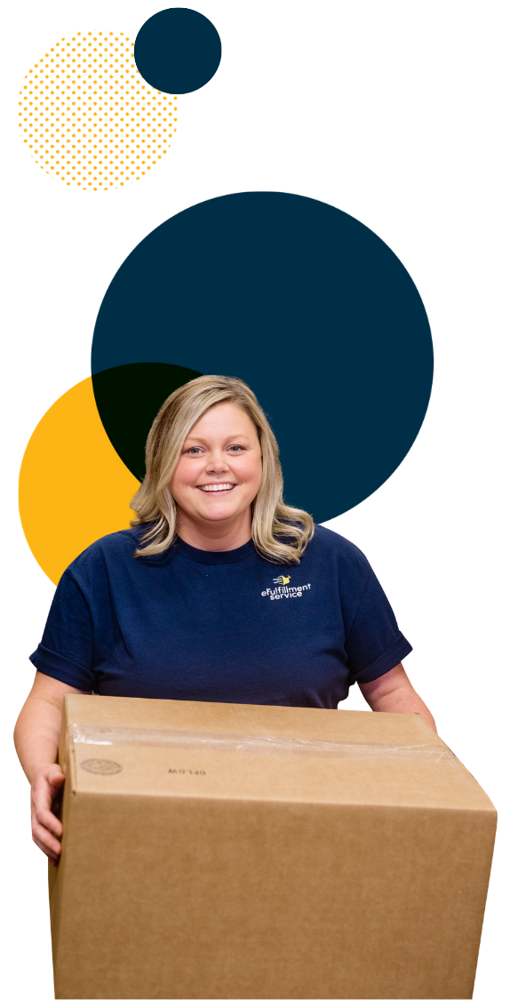 Efulfillment Service Female Blonde Employee Smiling with Box and 4 Dots