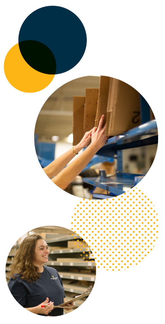 Efulfillment Service Employee Double Photo With Dots Reaching For Boxes Female With Clipboard