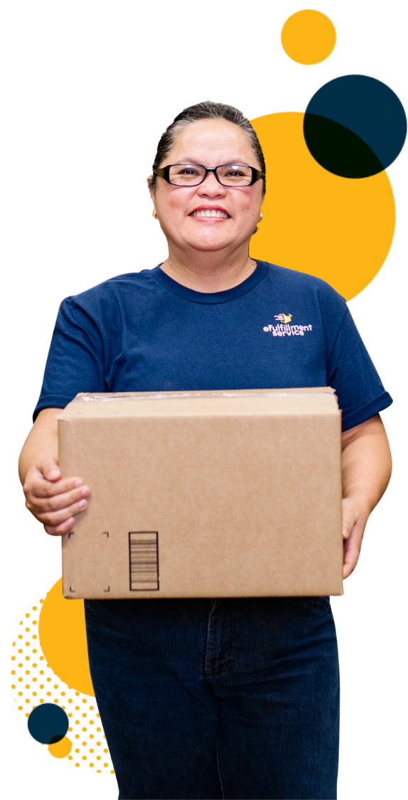 Efulfillment Service Employee Female With Box Dots Upper Right Lower Left