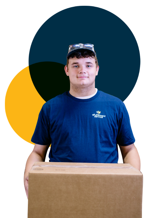 eFulfillment Service Young Male With Box Glasses On Head and Dots