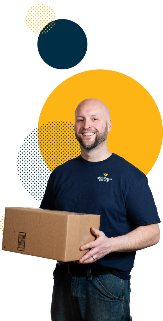 eFulfillment Service Employee Cutout With Box and dots