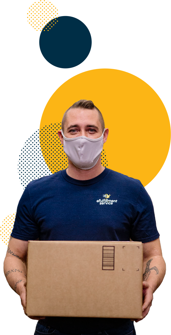 Efulfillment Service Male Masked Employee with Box and Dots