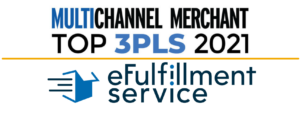 """Photo with blue and black text. First reading """"Multichannel Merchant Top 3PLs 2021"""". Underneath is a solid yellow line. Followed underneath by the eFulfillment Service logo."""