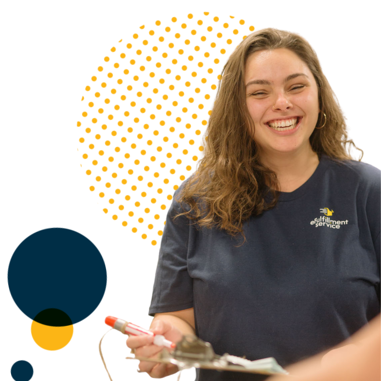 Efulfillment Service Employee Smiling With Clipboard and Large Dots