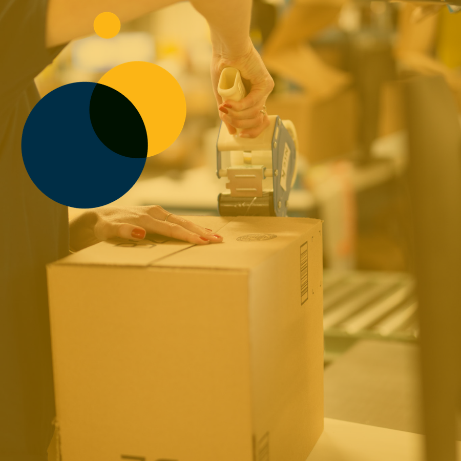 Efulfillment Service Employee Kneeling With Bin on Left And Dots