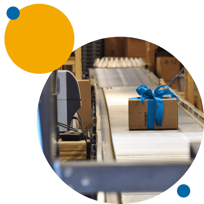 eFulfillment Service warehouse photo with dots upper left
